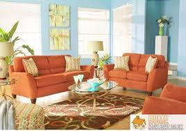 attractive home decor orange and blue living room part 6 navy