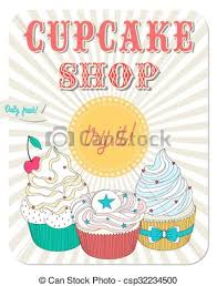 Vector Beautiful Poster In Retro Design With Delicios Cupcakes The Best For Bakery And Cupcake Shop Menu Or Just As An Advertising