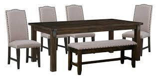 Dining Table With Storage Bench Room Furniture 4 Upholstered Side Chairs And