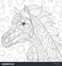 Adult Coloring Book Horse Zen Art Styledoodle