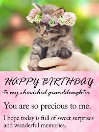 To my Cherished Granddaughter Happy Birthday Wishes Card Tender and loving that s what
