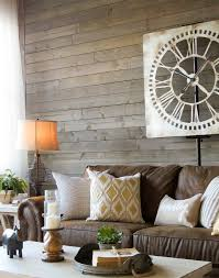 Love This Farmhouse Living Room With A Brown Sofa Rustic Gray Wood Walls Warm