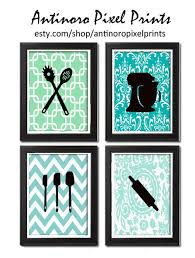 Unframed Kitchen Utensils Art Collection Set Of 4 8x11 Prints Featured In Blues