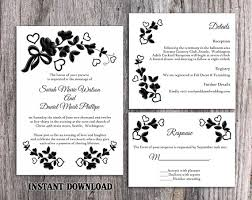 DIY Lace Wedding Invitation Template Set Editable Word File Download Printable Rustic Vintage Floral Black