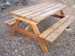 wood picnic table with separate benches best tables