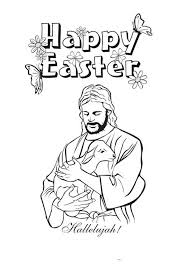 Jesus Christ And Lamb In Resurrection Coloring Page