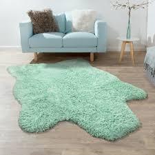 fellteppich kunstfell imitat flokati stil langflor teppich wohnzimmer grün