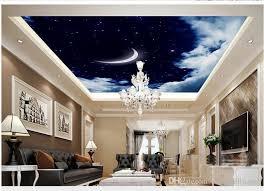 großhandel neue benutzerdefinierte 3d schöne 3d weiße wolken himmel mond wohnzimmer decke decke decken 3d tapete yiwuwallpaper 5 17 auf
