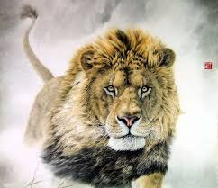 Chinese Lion Painting 0 4445002 98cm X 98cm38 38