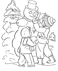 Printable Winter And Snowman Coloring Page For Kindergarten