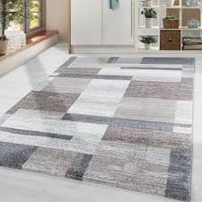 teppich modern designer kariert muster wohnzimmer weicher flor beige grau creme
