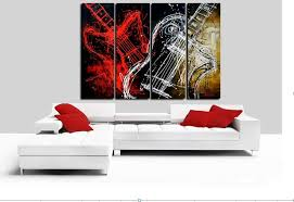 Handpainted 4 Piece Black White Red Abstract Oil Painting On Canvas Wall Art Musical Instruments Guitar Picture For Home Decor In Calligraphy