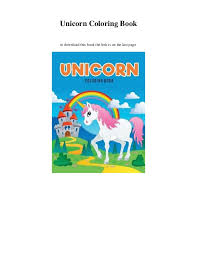 Unicorn Coloring Book To Download This The Link Is On Last Page