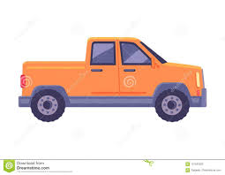 100 Compact Pickup Trucks Orange Car Flat Vector Icon Stock Vector Illustration Of