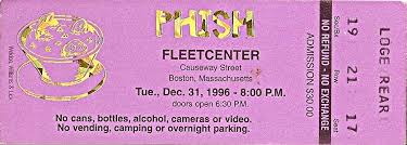 Phish Bathtub Gin Great Went by A Collection Of 1996 Phish Tickets By Mail Stubs The Fifth Corner