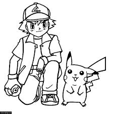 Anime Pokemon Boy Ash Ketchum Pikachu Coloring Page