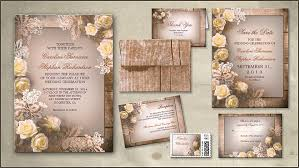 Rustic Roses Wood Wedding Invitation
