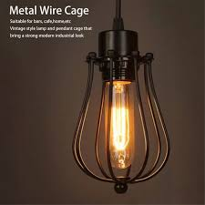 vintage l covers metal wire shades antique pendant led bulb