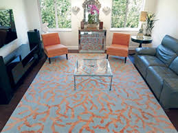 Tropical Theme Custom Rug In Light Grey And Vibrant Orange With Ocean Coral Throughout This Is Hand Knotted To The Clients Exact Size For Their Space