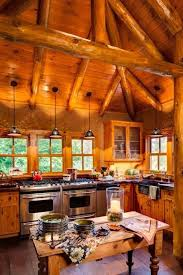 enchanting log cabin kitchen lighting ideas with stainless steel