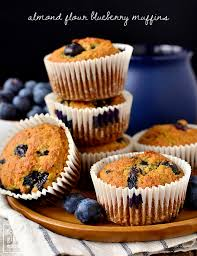 Plate Of Almond Flour Blueberry Muffins