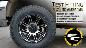 100 Helo Truck Wheels Test Fitting Leveled 2002 GMC Sierra 1500 W 18 HE900s 32