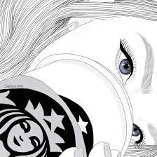 Drawn Starbucks Black And White