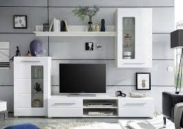 wohnwand hochglanz weiß inkl led beleuchtung schrankwand wohnzimmerwand modern