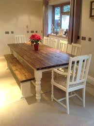 Rustic Dining Table With Benches Bench Farmhouse Shabby Chic Solid
