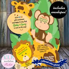 Giraffe Birthday Wild One Invitations Jungle Theme Baby