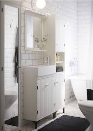 Cabinet 55X43 Cm Mirror 60X48 Cm Black White Wash Basin