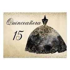 Gold Foil Black Dress Quinceanera Invitation