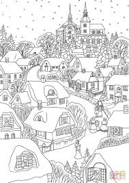 Click The Snowy Village On Christmas Eve Coloring Pages To View Printable Version Or Color It Online Compatible With IPad And Android Tablets