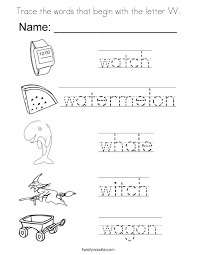 Trace The Words That Begin With Letter W Coloring Page