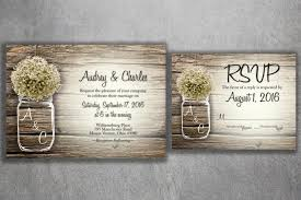 MASON JAR Babys Breath Flowers Rustic Wedding Invitation Set