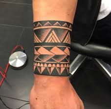 Solid Black Broad Tribal Armband Tattoo Designs For Men