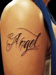 Angel Name Tattoo On Right Shoulder