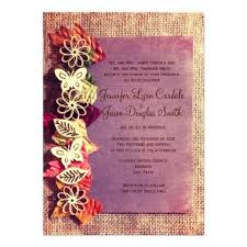 The Best Place Rustic Leaves Purple Fall Wedding Invitations