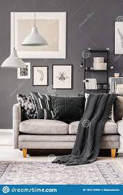dunkle decke und kissen auf einem sofa für graue ecken im
