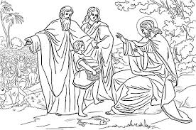 Disciples Jesus And Feeds 5000 People Coloring Page