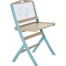 bureau tableau bureau évolutif pour enfant avec tableau en acacia bleu pirouette
