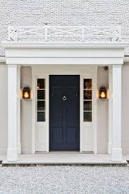 Navy Front Door Transitional Home Exterior