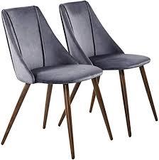 hj wedoo 2er set esszimmerstühle samt kissen küchentisch stühle mit hölzernen stabilen metallbeine für esszimmer grau
