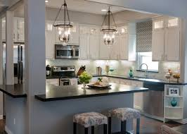 Cool Rustic Kitchen Light Fixture With Twin Chandeliers And Barstools Also White Painted Cabinets
