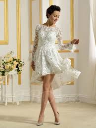 Tbdress Offers High Quality Perfect Asymmetry Short Lace Long Sleeve Wedding Dress Latest