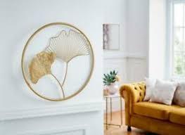 details zu 3d metall bild ginko gold wanddeko wand deko blüten modern rund ø 43 cm