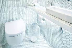 white mosaic tiles walls and floors