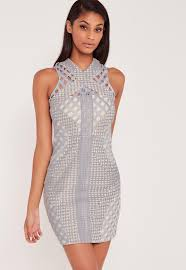carli bybel lace cut out cross neck bodycon dress grey missguided