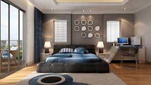 Captivating Bedroom Design With Classy Leather Master Bed Blue Bedding And Cool Custom Bedside