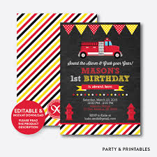 Fire Truck Chalkboard Kids Birthday Invitation / Editable / Instant ...